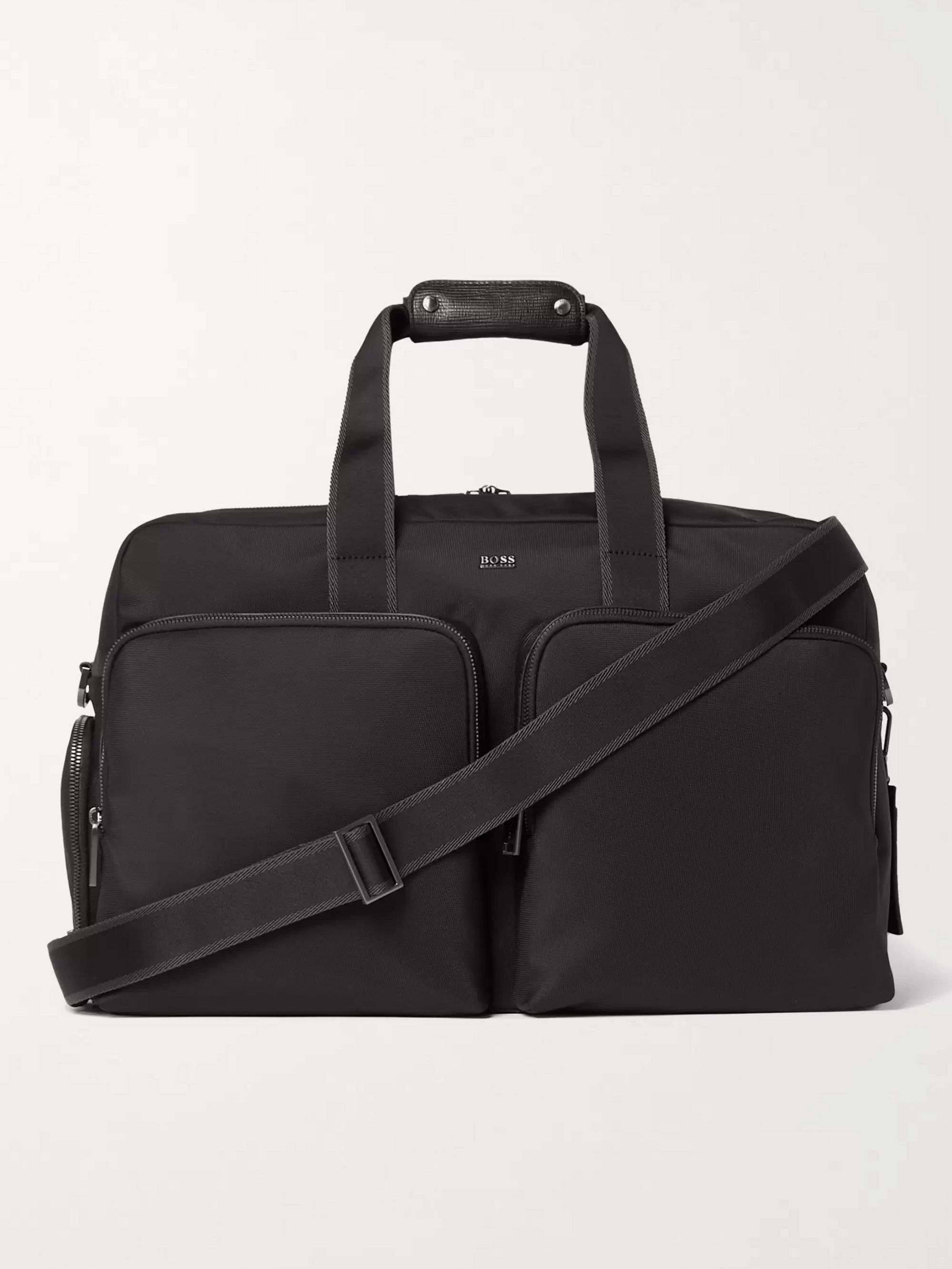 HUGO BOSS Textured Leather-Trimmed Shell Holdall