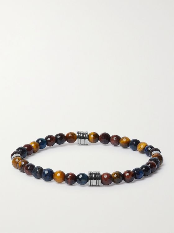 HUGO BOSS Silver-Tone Tiger's Eye Bracelet