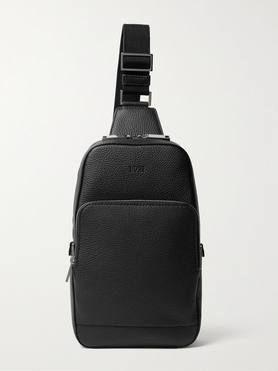 HUGO BOSS Textured-Leather Sling Backpack