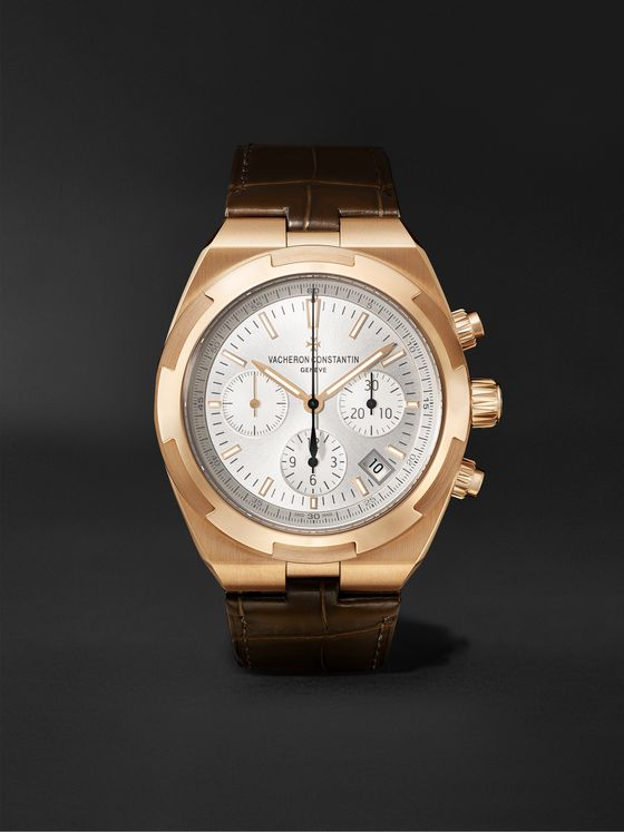 VACHERON CONSTANTIN Overseas Automatic Chronograph 42.5mm 18-Karat Pink Gold and Alligator Watch, Ref. No. 5500V/000R-B074