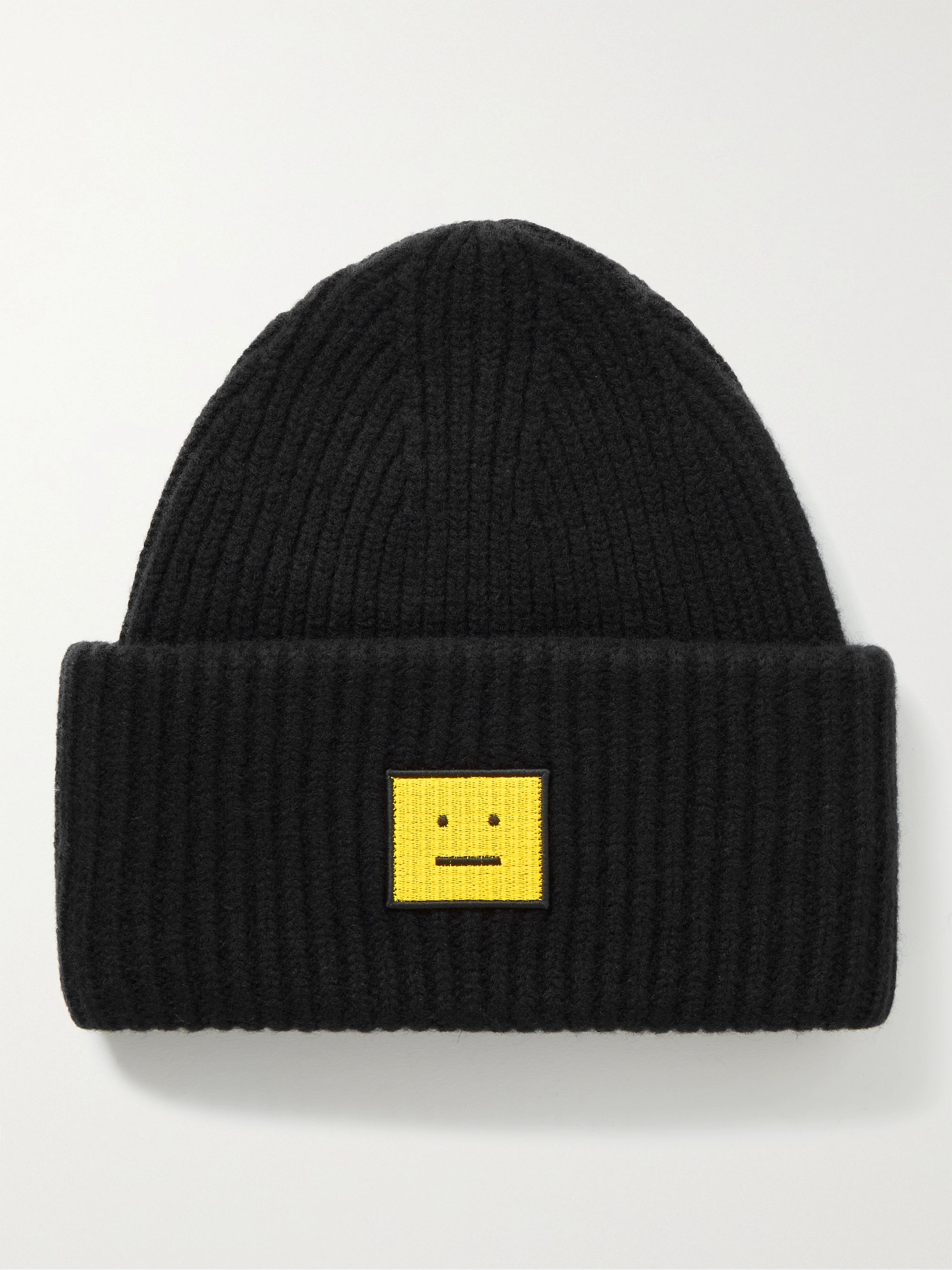 아크네 스튜디오 로고 울 비니 Acne Studios Logo-Appliqued Ribbed Wool Beanie,Black