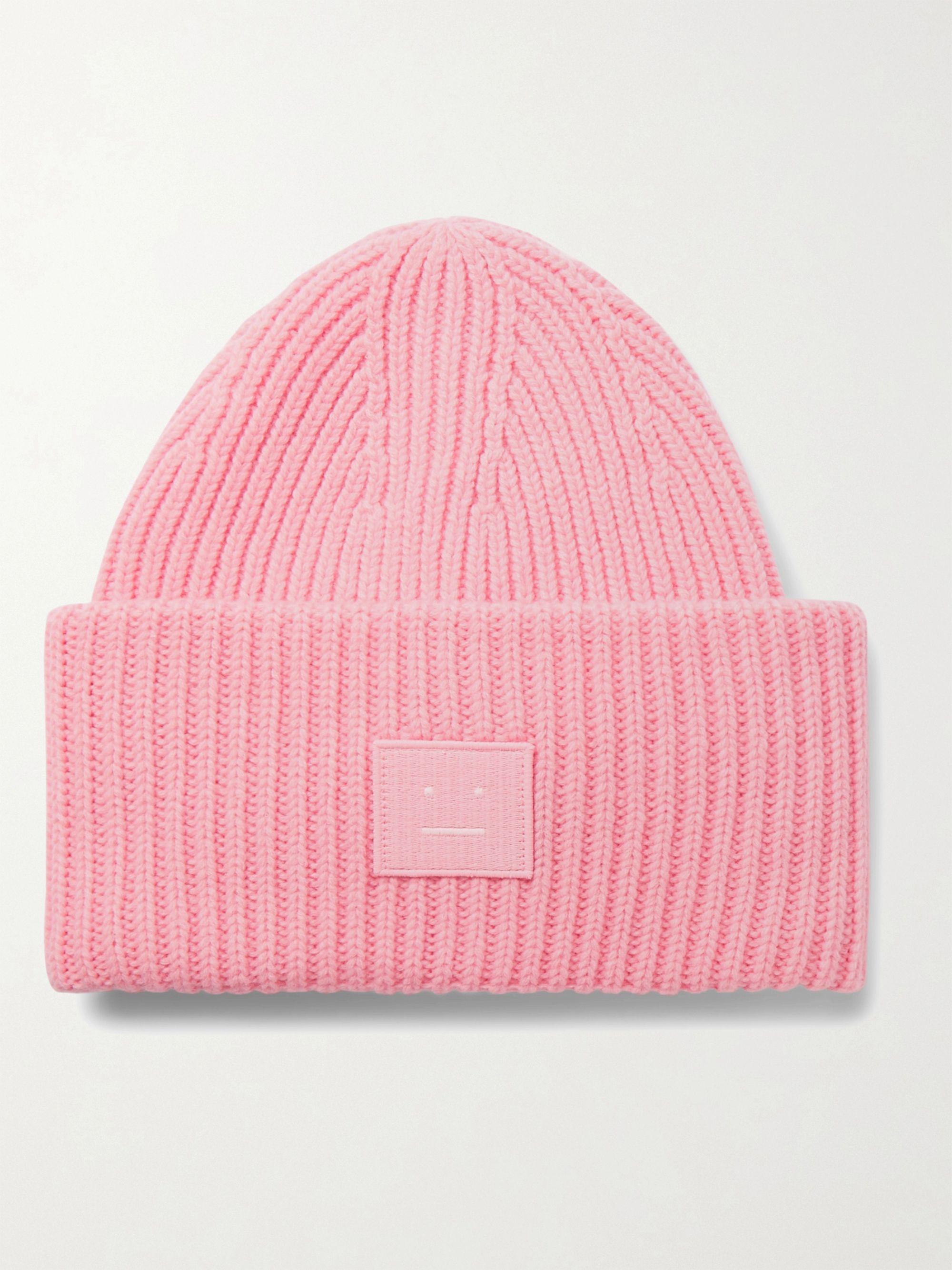 아크네 스튜디오 로고 울 비니 Acne Studios Logo-Appliqued Ribbed Wool Beanie,Pink