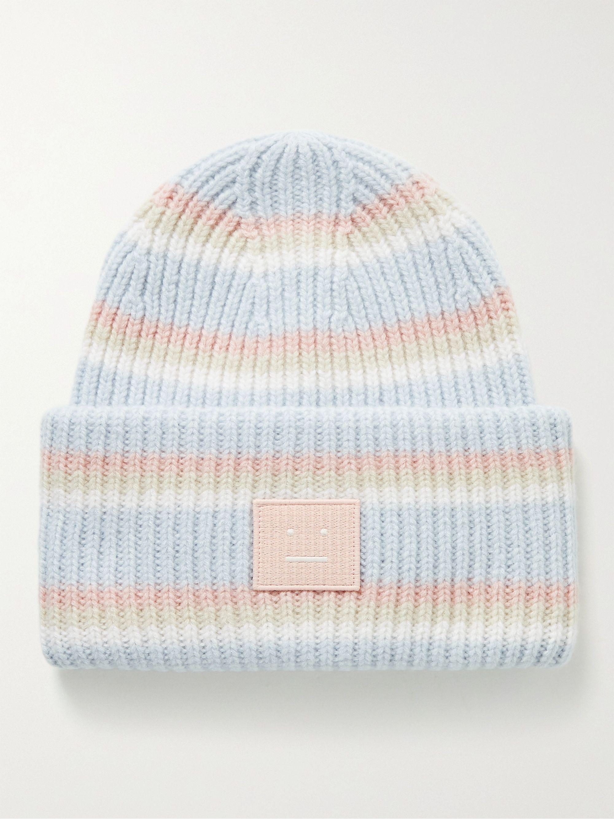 아크네 스튜디오 로고 울 비니 Acne Studios Logo-Appliqued Striped Ribbed Wool Beanie,Blue