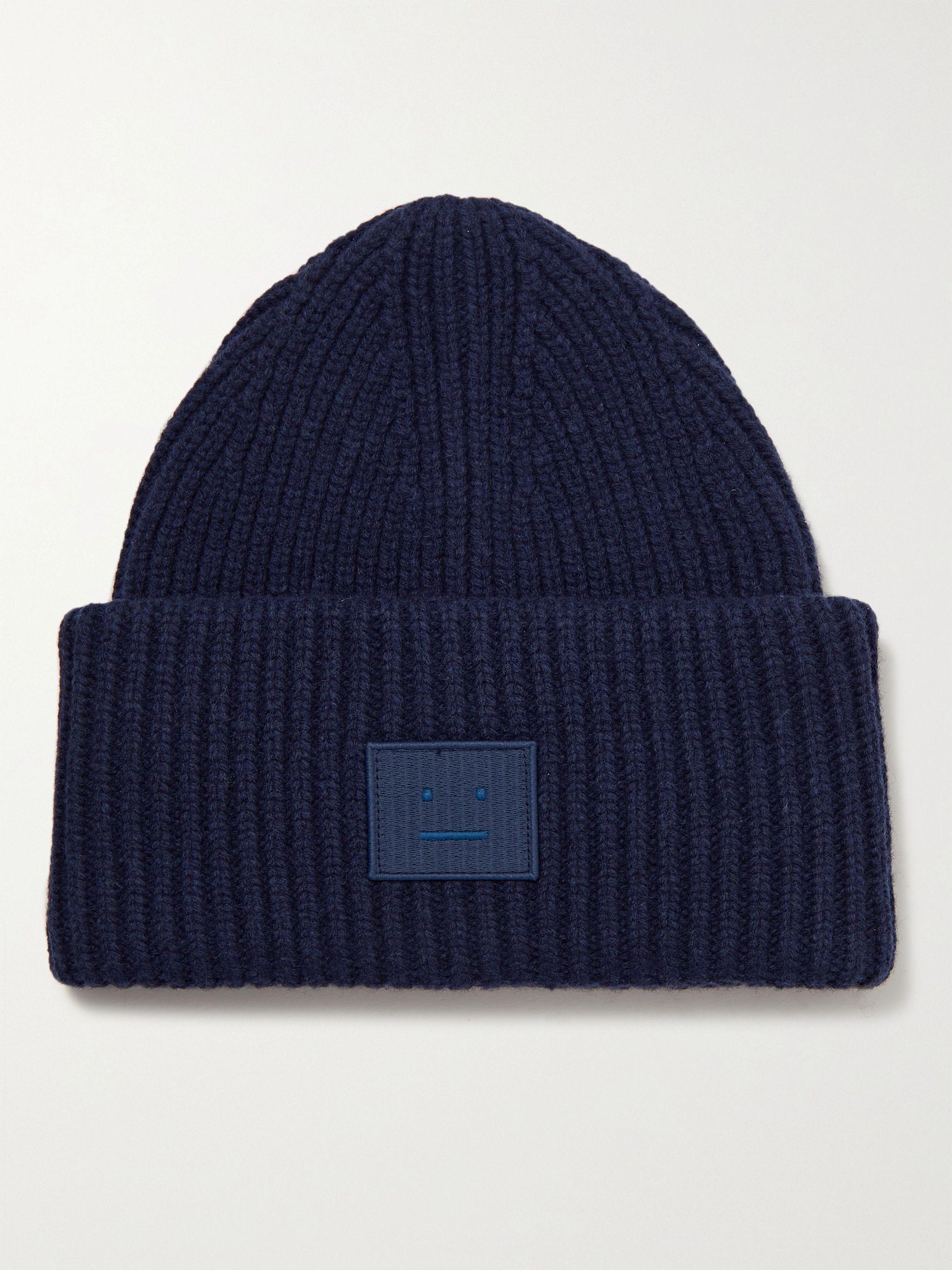 아크네 스튜디오 로고 울 비니 Acne Studios Logo-Appliqued Ribbed Wool Beanie,Navy