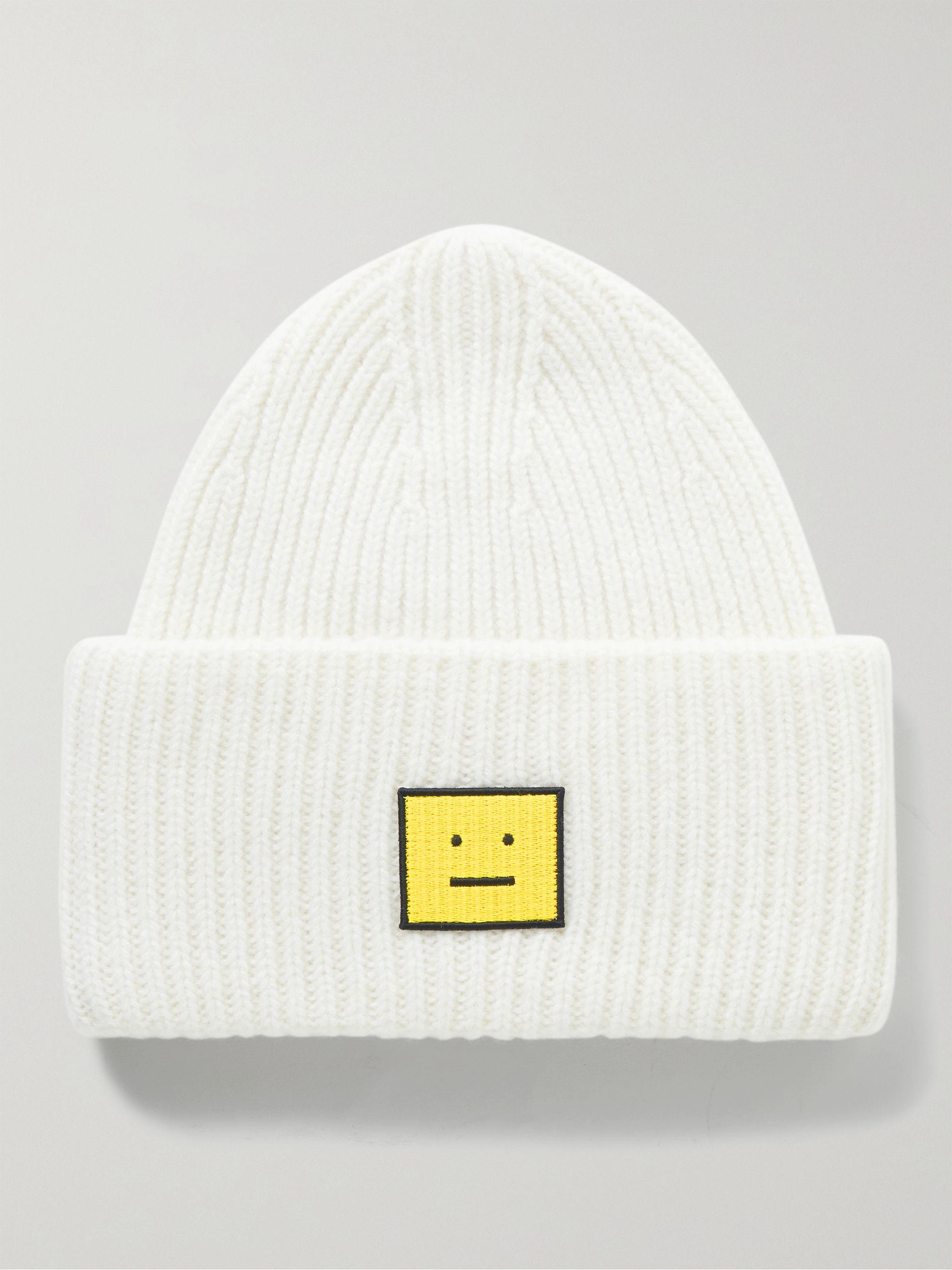 아크네 스튜디오 로고 울 비니 Acne Studios Logo-Appliqued Ribbed Wool Beanie,White