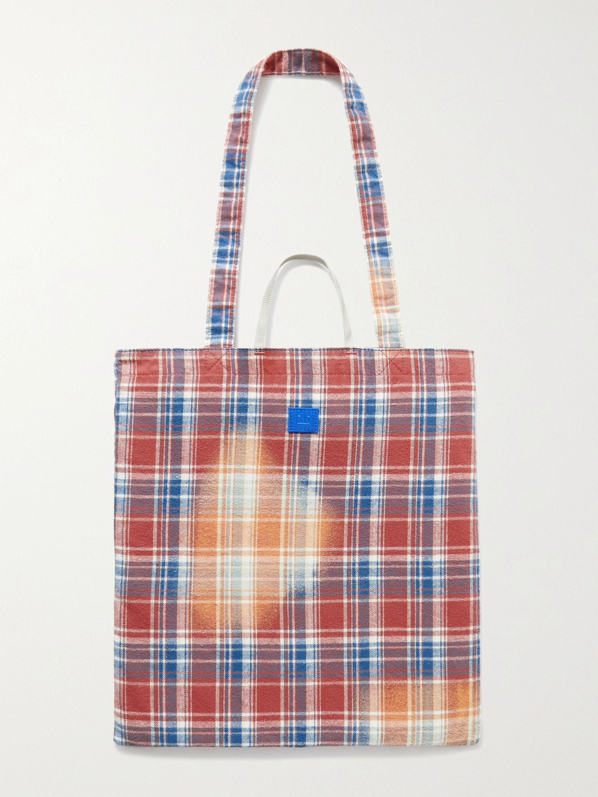 아크네 스튜디오 체크 토트백 Acne Studios Printed Checked Cotton-Flannel Tote Bag,Pink
