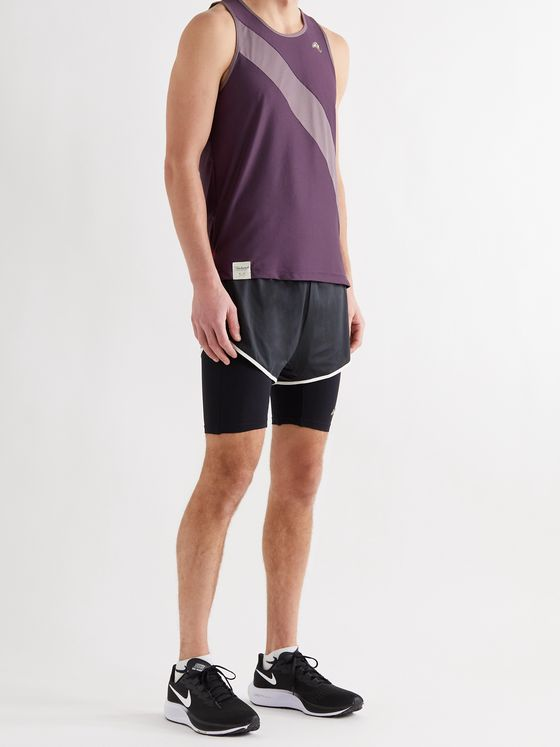TRACKSMITH Van Cortlandt Striped Stretch-Mesh Tank Top