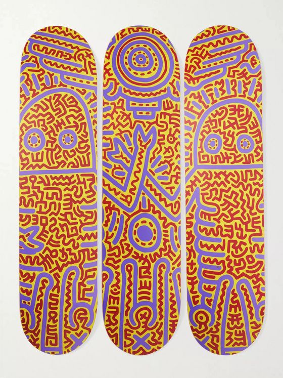THE SKATEROOM + Keith Haring Set of Three Printed Wooden Skateboards