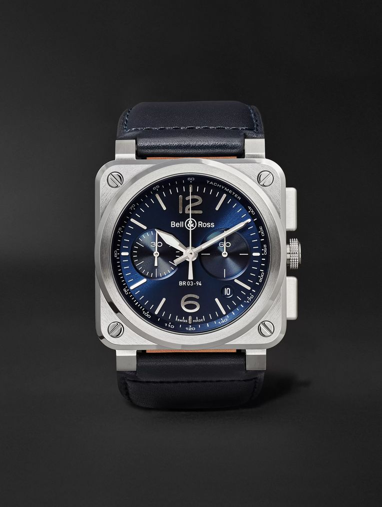 Bell & Ross BR 03-94 42mm Steel and Leather Chronograph Watch, Ref. No. BR0394-­‐BLU-­‐ST/SCA