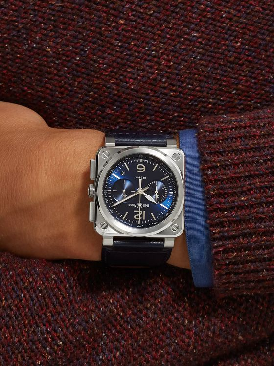 BELL & ROSS BR 03-94 Blue Steel Automatic Chronograph 42mm Steel and Leather Watch, Ref. No. BR0394‐BLU-­ST/SCA