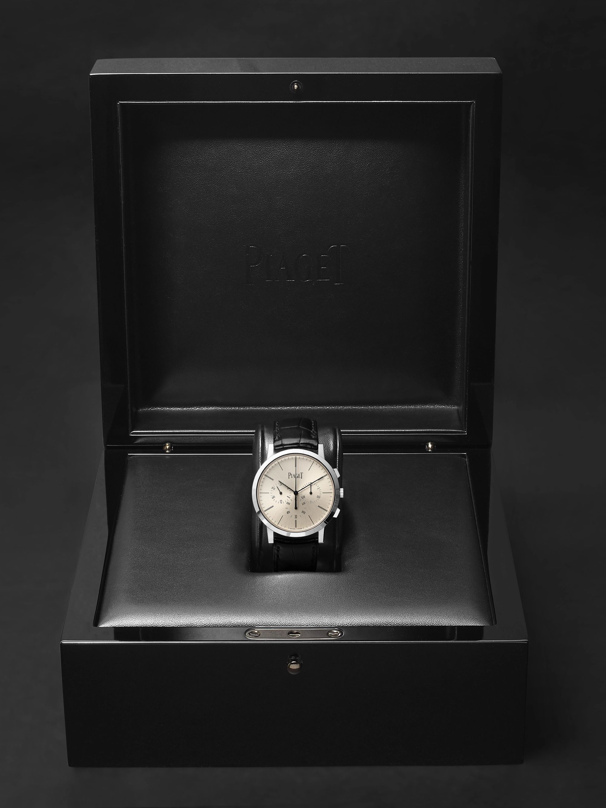 Piaget Altiplano Flyback Chronograph 41mm 18-Karat White Gold and Alligator Watch, Ref. No. G0A41035