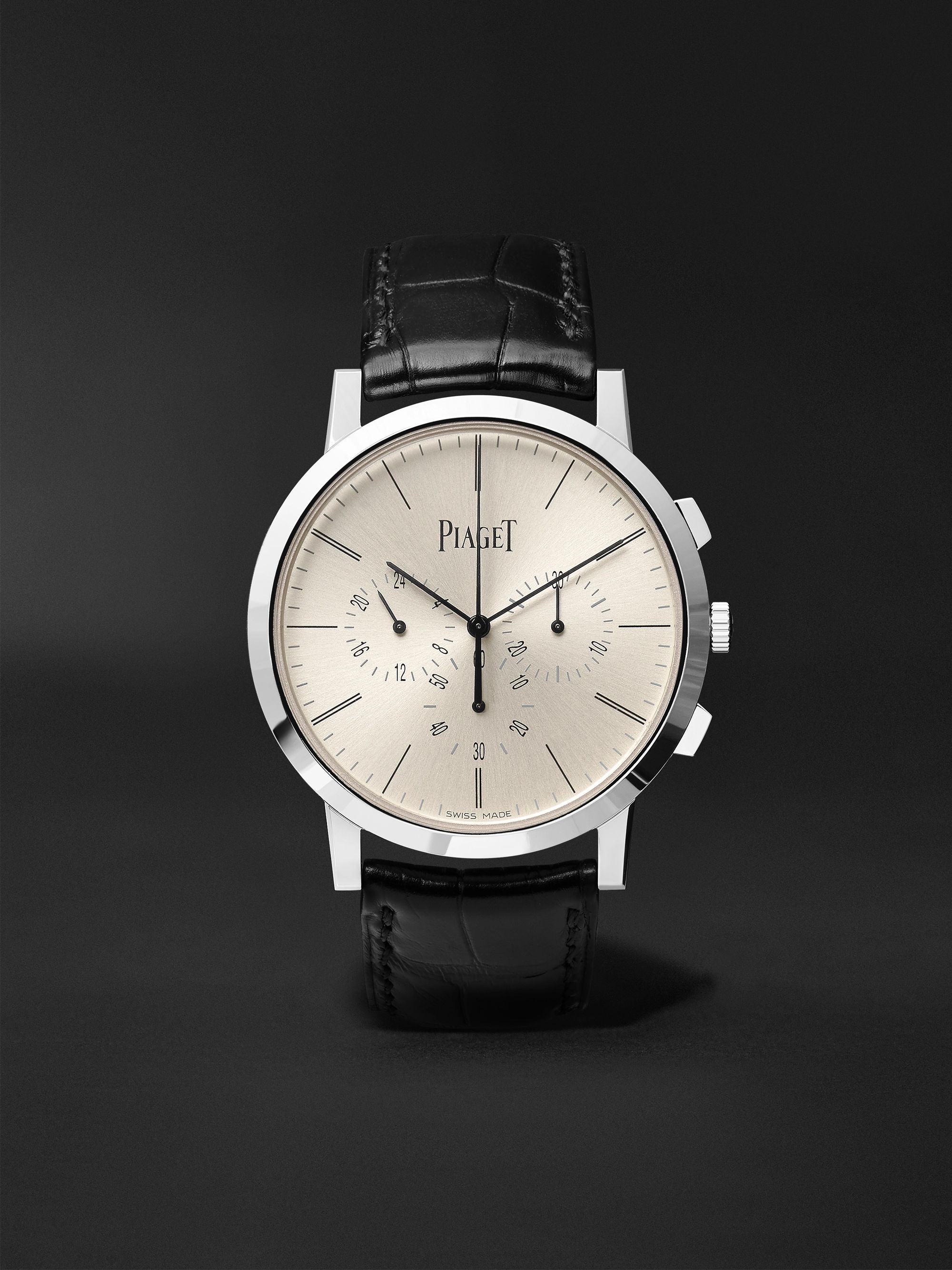 Piaget Altiplano Flyback Chronograph 41mm 18-Karat White Gold and Alligator Watch