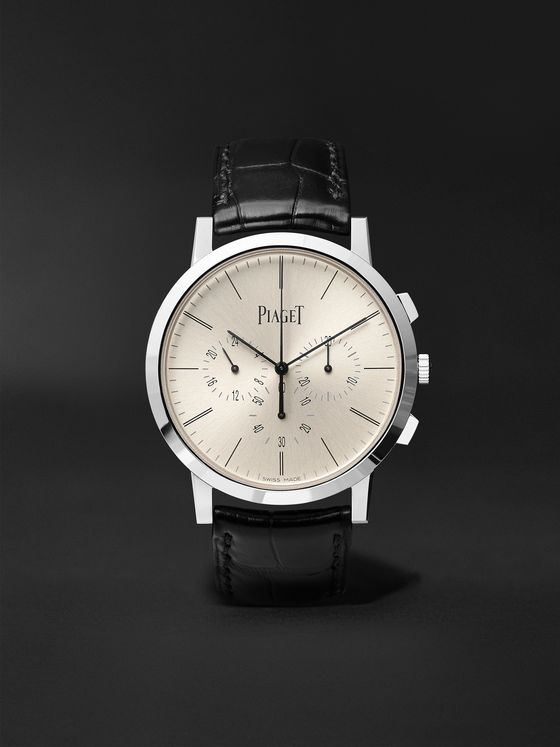 Piaget Altiplano Flyback Automatic Chronograph 41mm 18-Karat White Gold and Alligator Watch, Ref. No. G0A41035