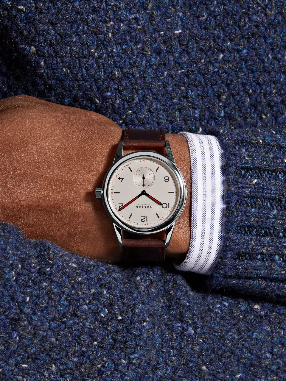 NOMOS Glashütte Club Automat Automatic 40mm Stainless Steel and Cordovan Leather Watch