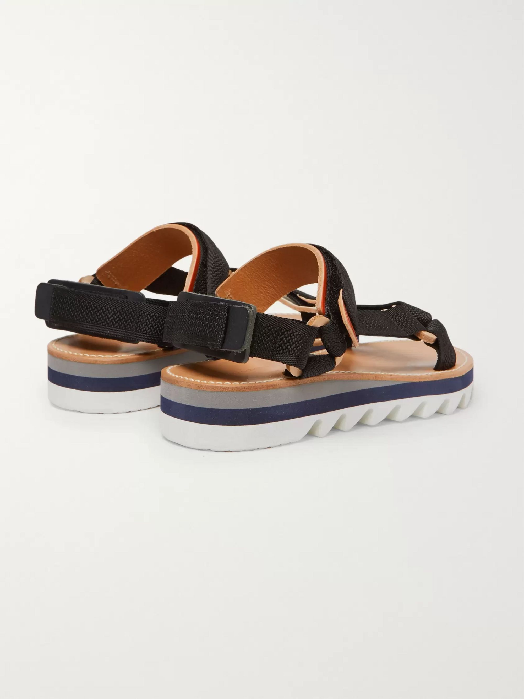Hender Scheme Leather-Trimmed Webbing Sandals