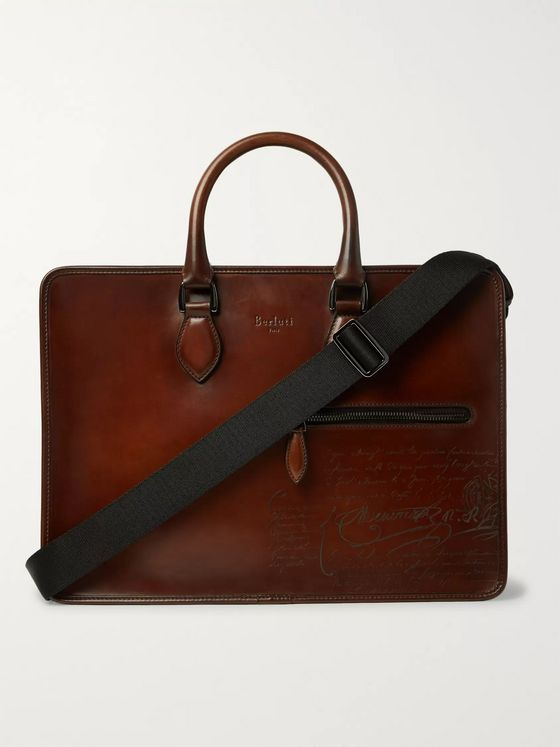 Berluti Un Jour Scritto Leather Briefcase