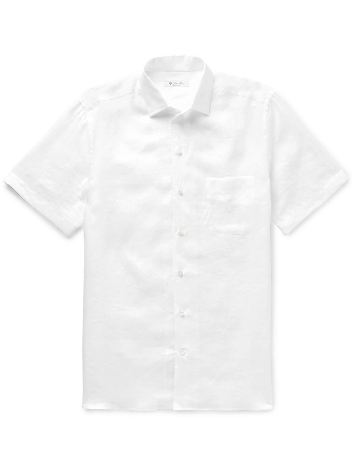 loro piana - paul linen shirt - men - white - s