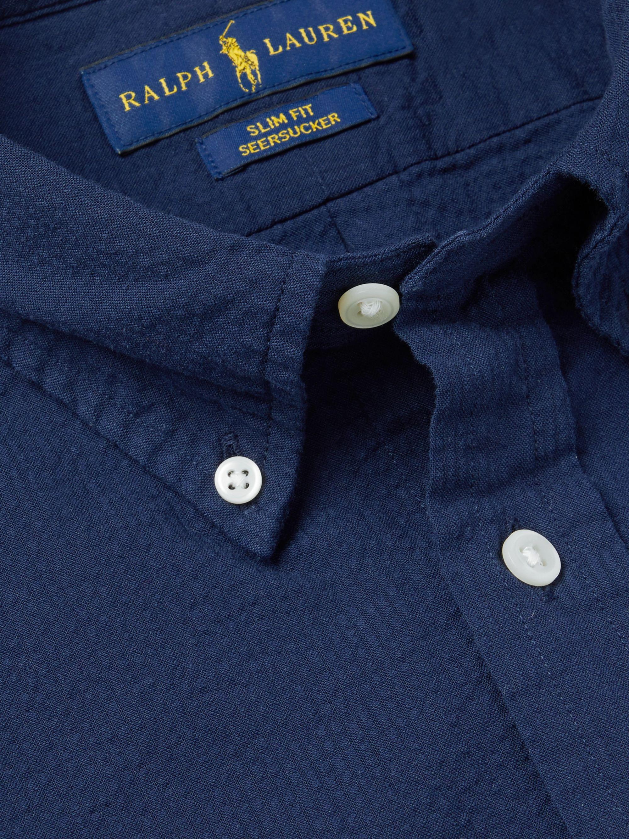 Navy Slim Fit Button Down Collar Cotton Seersucker Shirt Polo