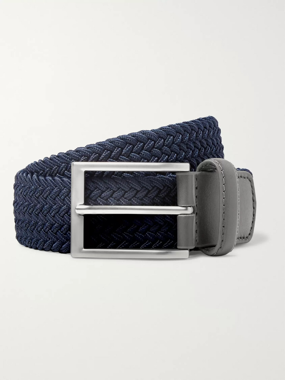 Kjus Golf 3.5cm Navy Leather-Trimmed Woven Webbing Belt
