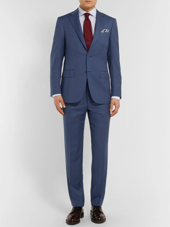 Canali Navy Slim-Fit Mélange Wool Suit Trousers