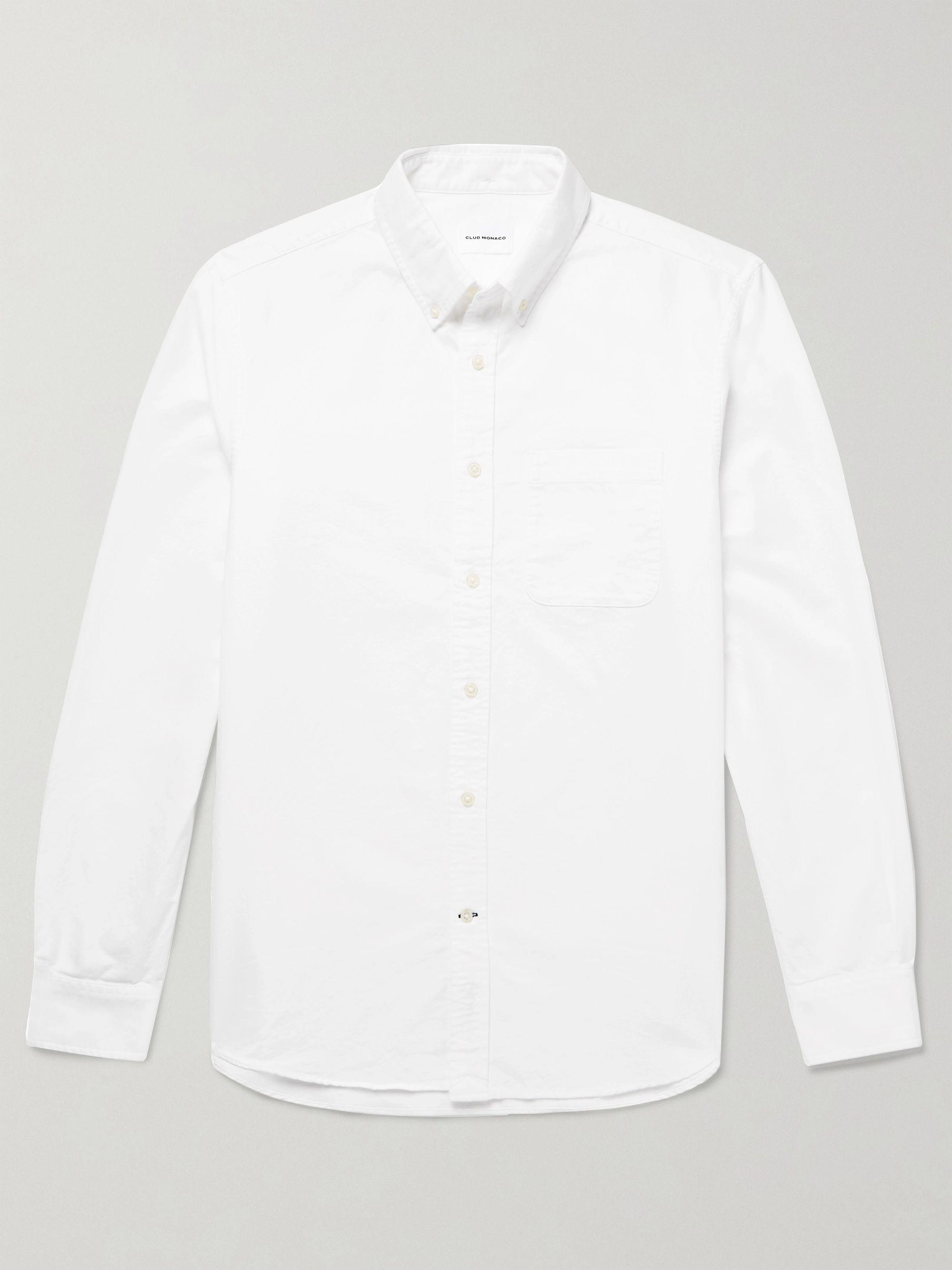 클럽 모나코 Club Monaco Button-Down Collar Cotton Oxford Shirt,White