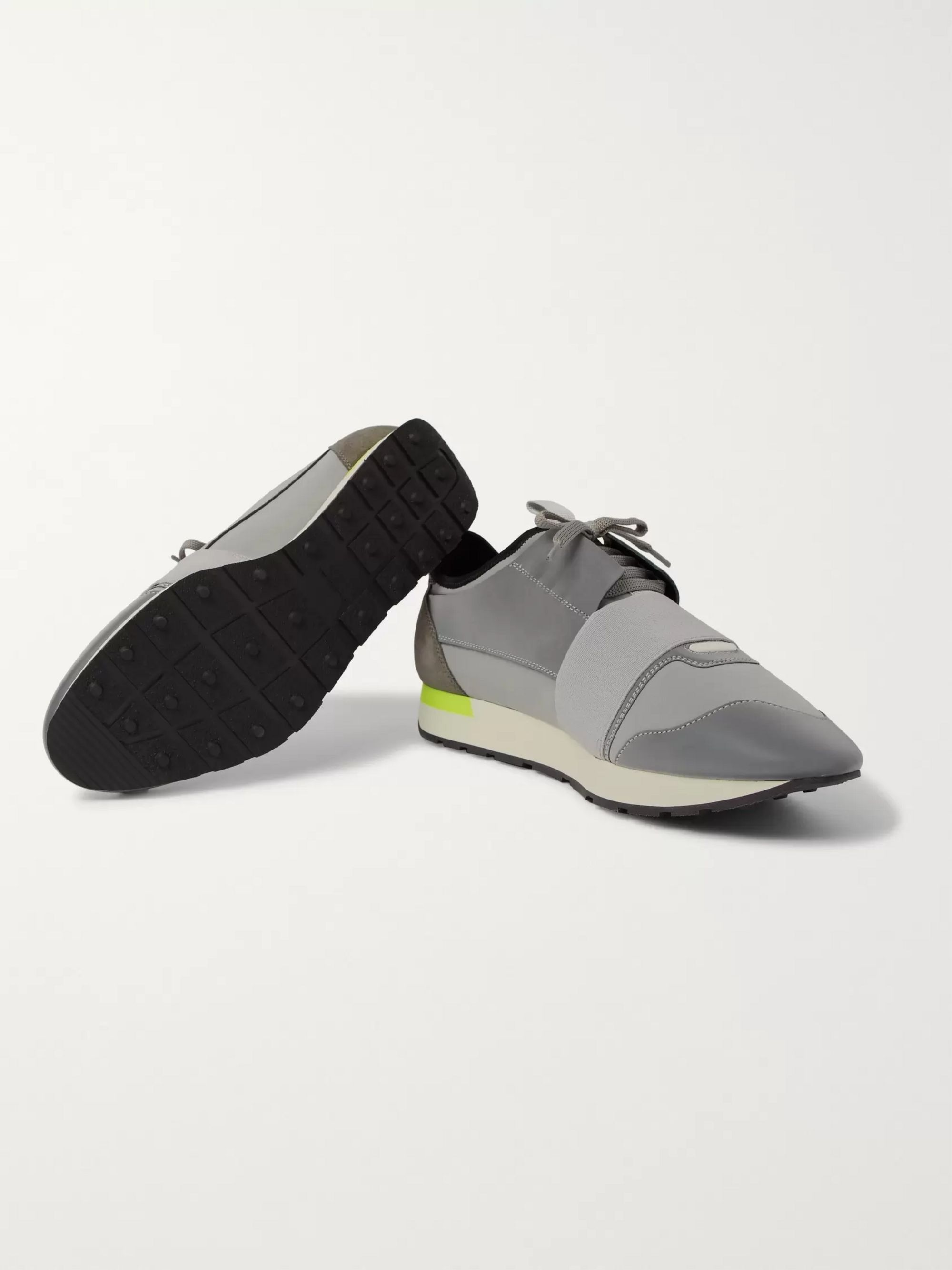 Race Runner Neoprene, Leather and Suede Sneakers