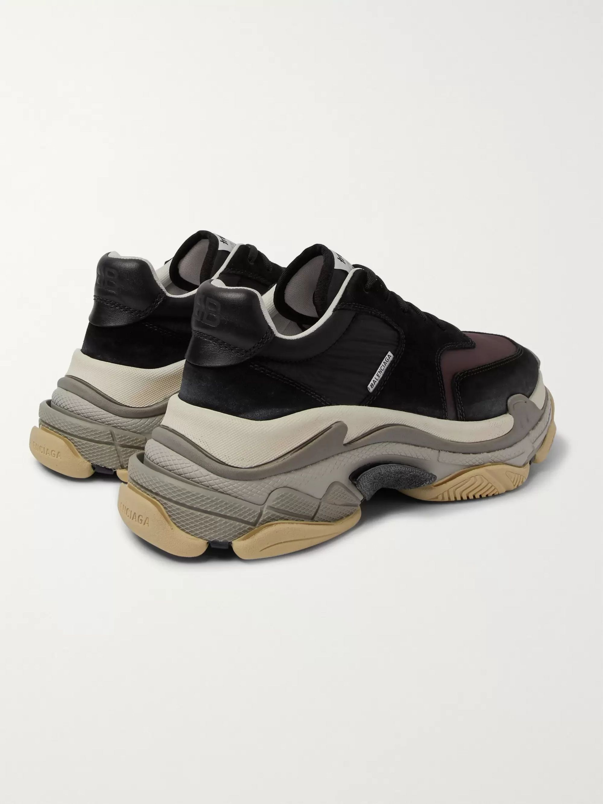 Balenciaga Triple S Nylon, Mesh, Suede and Leather Sneakers