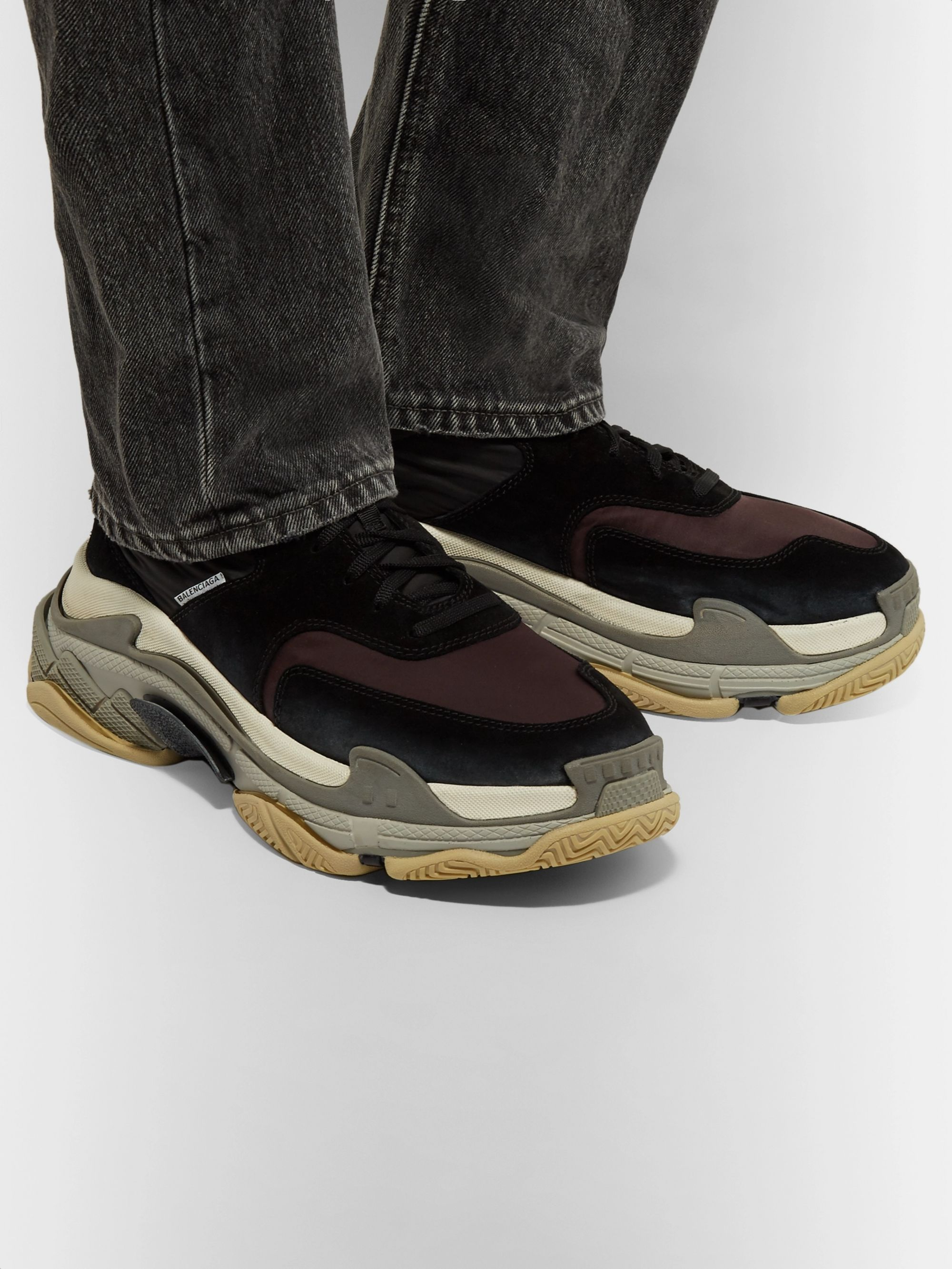 delicate colors top quality cheapest price Triple S Nylon, Mesh, Suede and Leather Sneakers