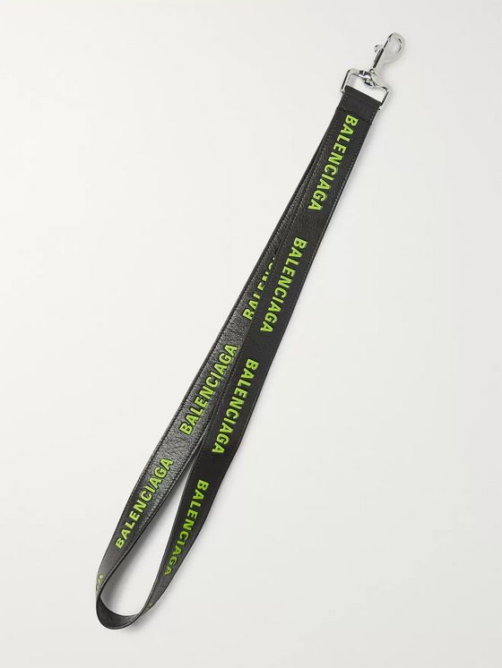 Balenciaga Logo-Print Creased-Leather Lanyard