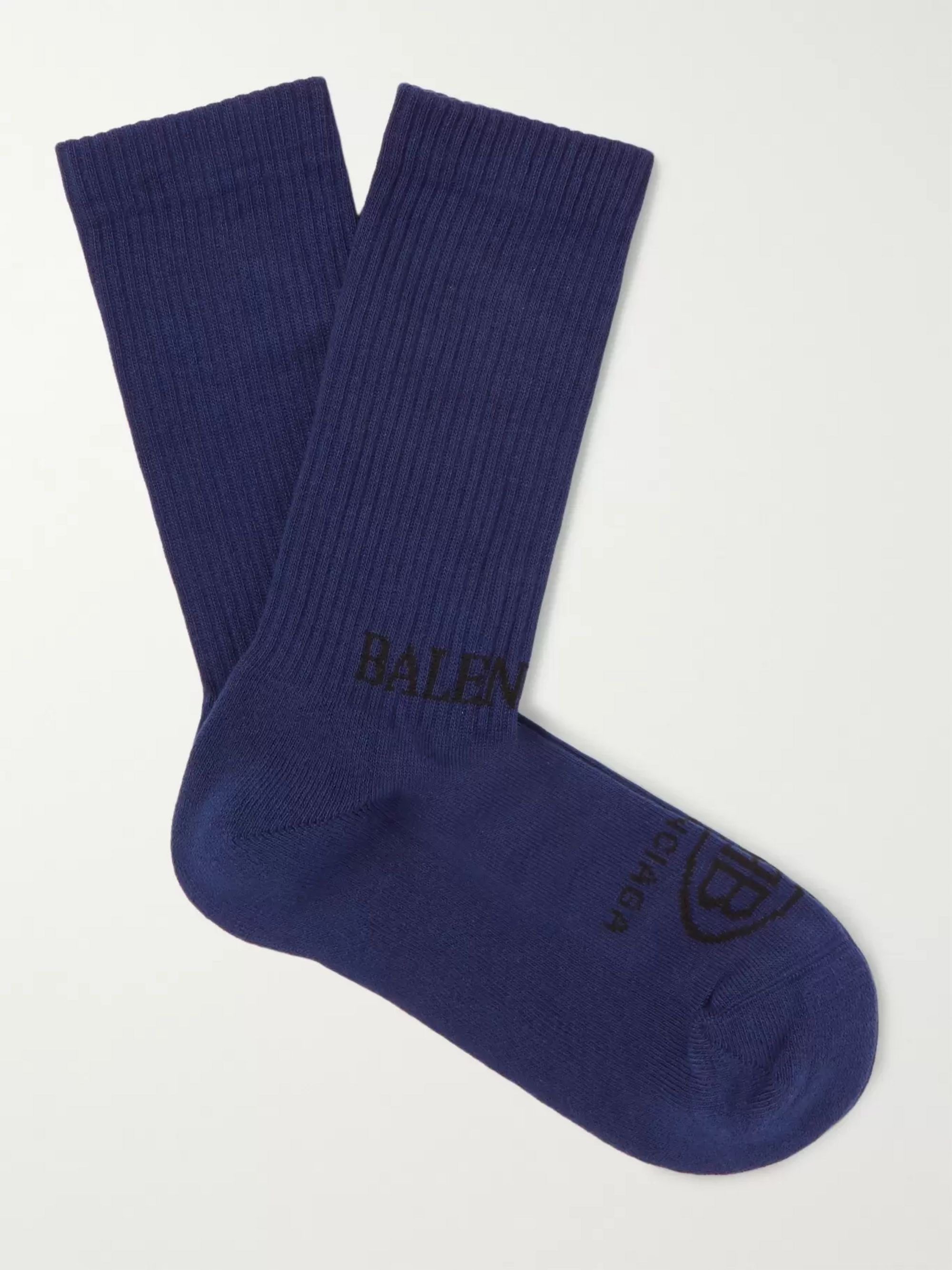 Balenciaga Logo-Intarsia Ribbed Stretch Cotton-Blend Socks