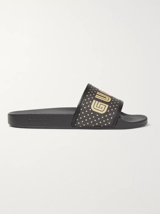 Gucci Leather-Trimmed Logo-Print Rubber Slides