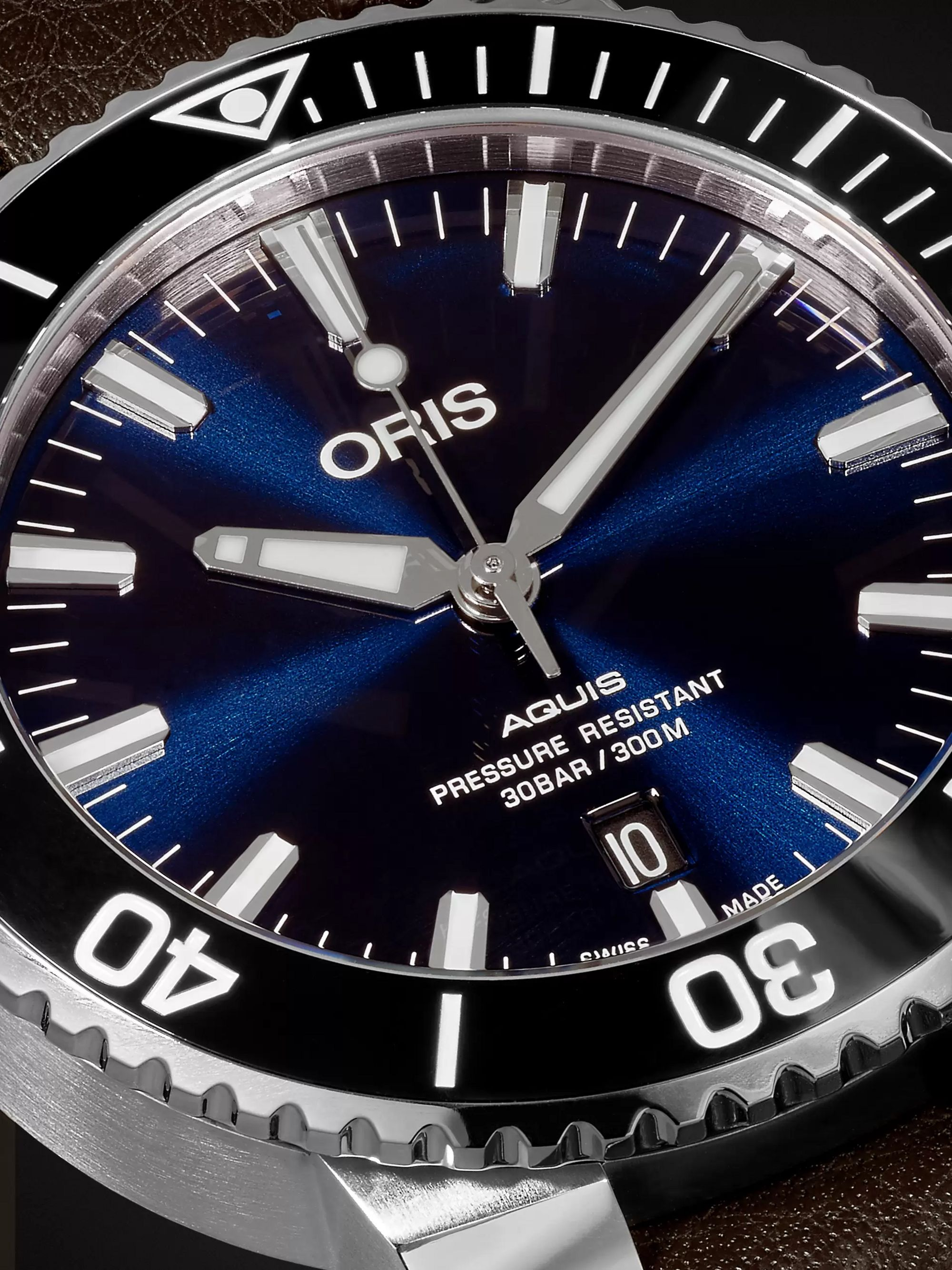 Oris Aquis 43mm Stainless Steel and Leather Watch, Ref. No. 01 733 7730 4135- 07 5 24 10 EB