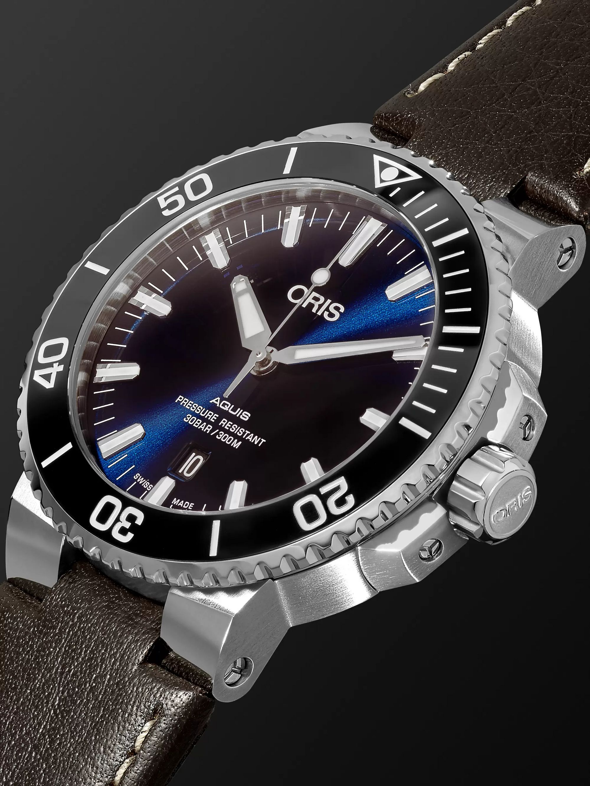 Oris Aquis Automatic 43mm Stainless Steel and Leather Watch, Ref. No. 01 733 7730 4135- 07 5 24 10 EB