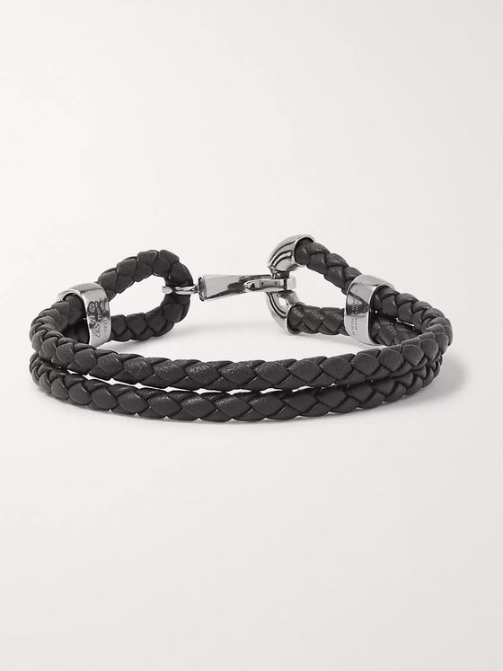Bottega Veneta Intrecciato Leather Oxidised Silver-Tone Bracelet