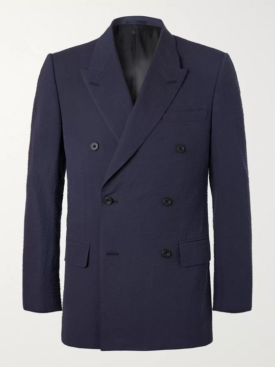 Kingsman Harry's Navy Double-Breasted Cotton-Seersucker Suit Jacket