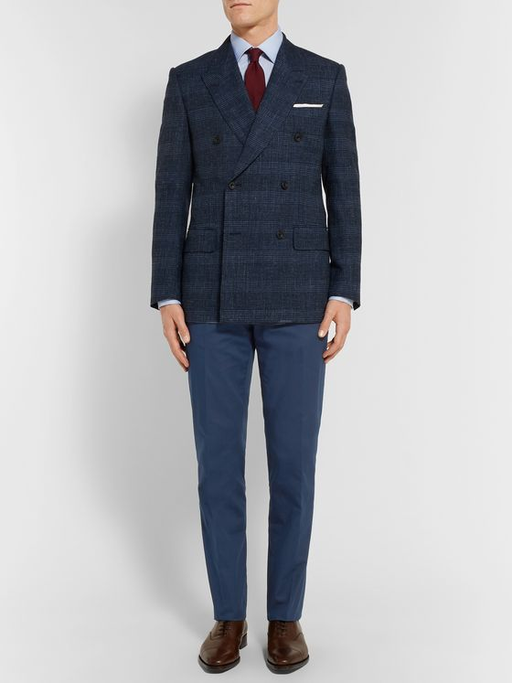 Kingsman Navy Stretch-Cotton Twill Trousers
