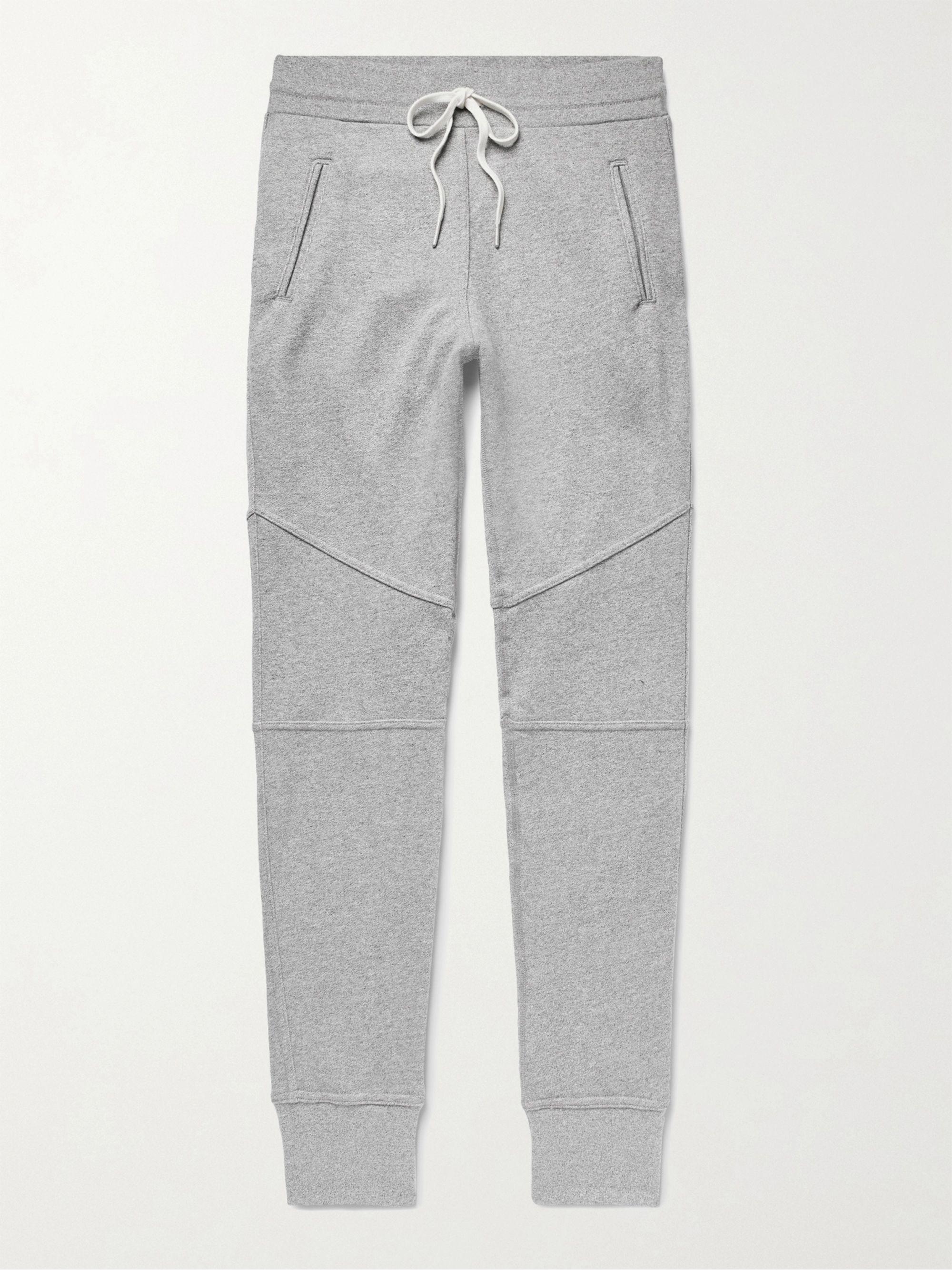John Elliott Dark gray Escobar Slim-Fit Tapered Loopback Cotton-Blend Jersey Sweatpants,Dark gray