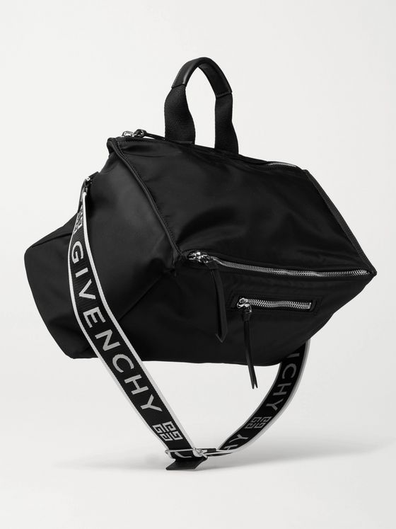 GIVENCHY Pandora Leather-Trimmed Logo-Print Shell Tote Bag