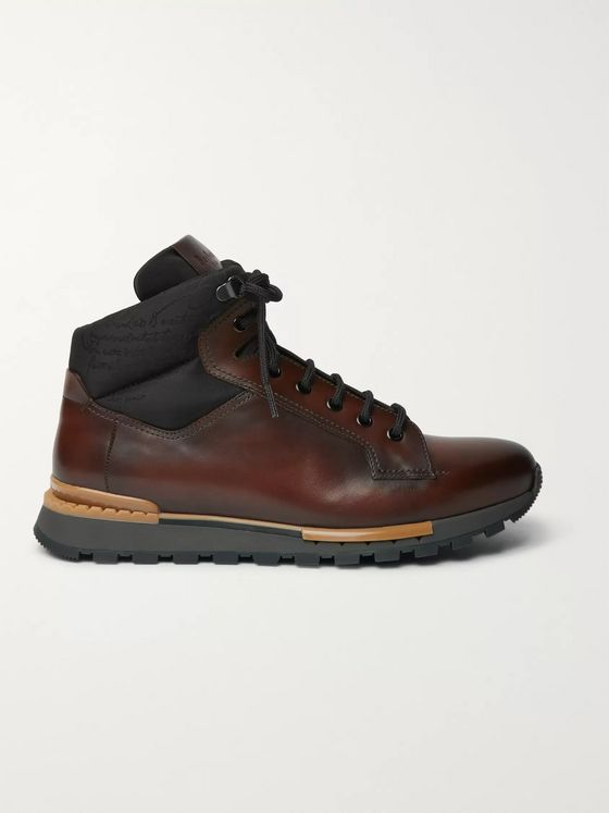 BERLUTI Fast Track Leather and Jacquard-Shell Hiking Boots