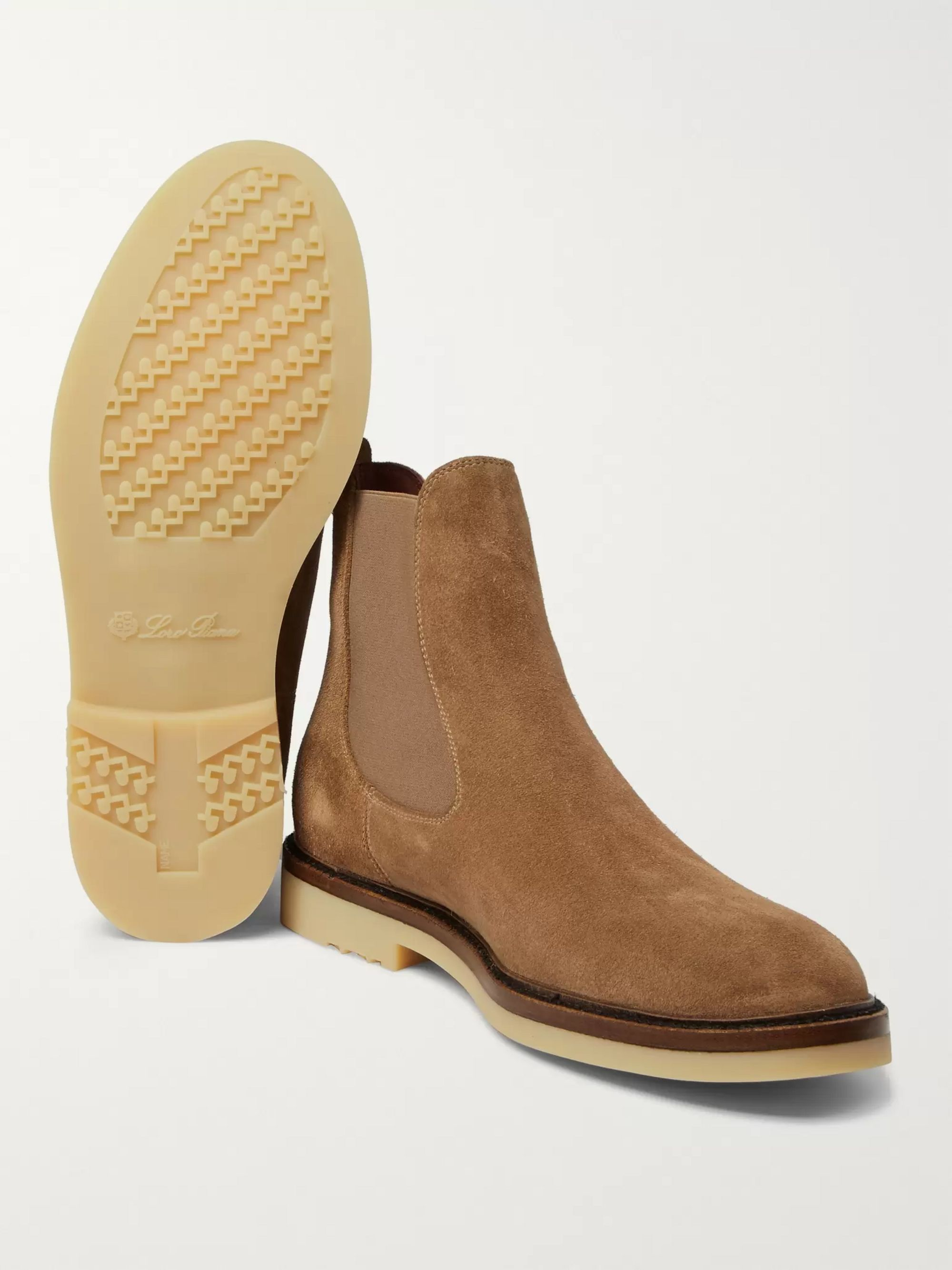 Loro Piana Winter Beatle Walk Suede Chelsea Boots
