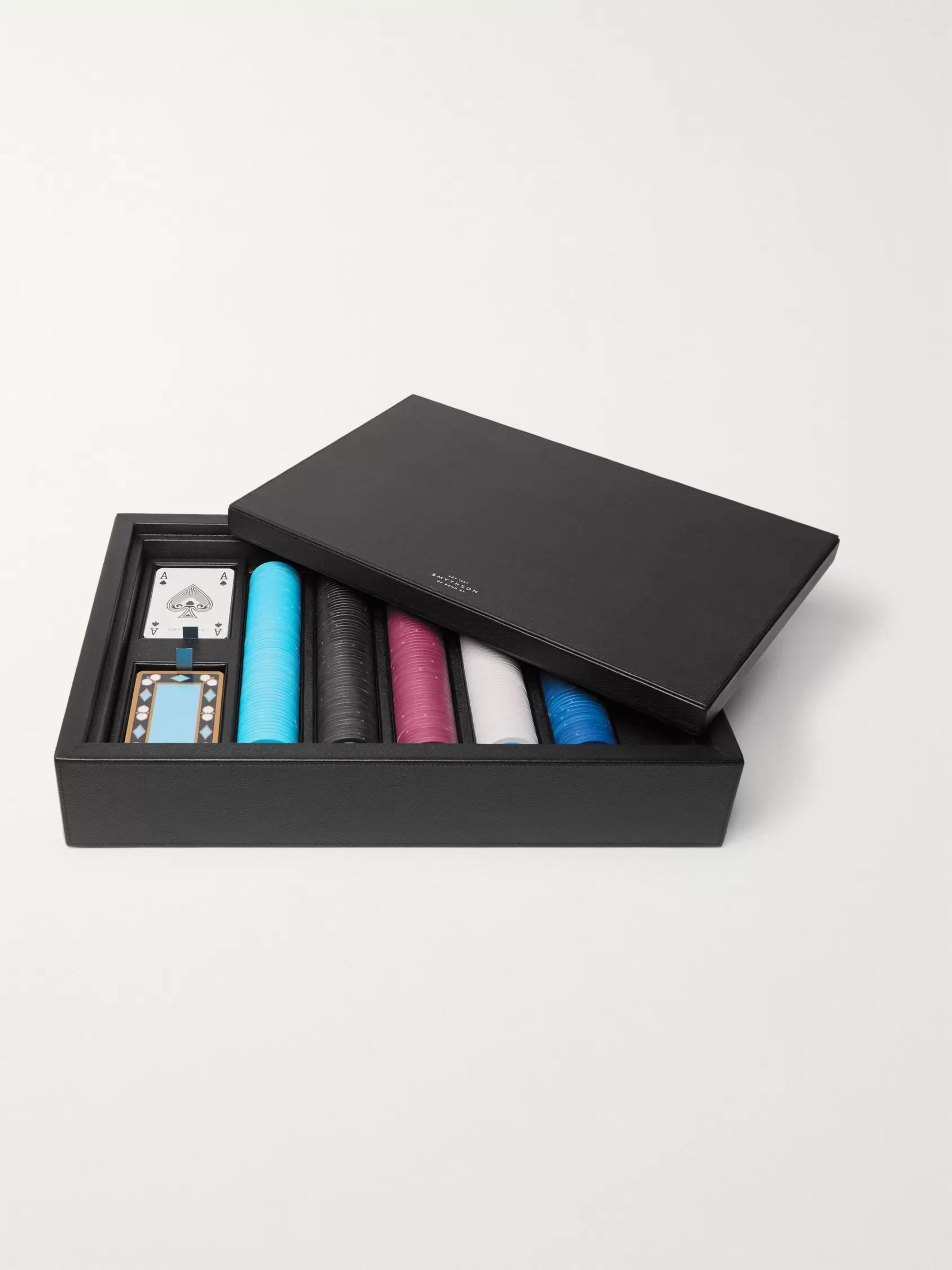 Smythson Grosvenor Full-Grain Leather Poker Set