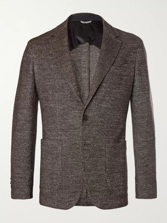 Canali Brown Slim-Fit Unstructured Herringbone Wool-Blend Blazer