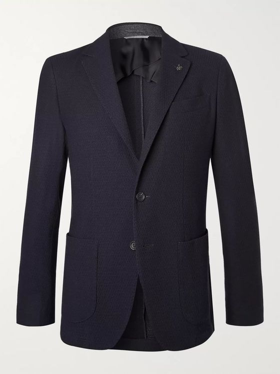 Canali Navy Slim-Fit Unstructured Textured-Wool Blazer