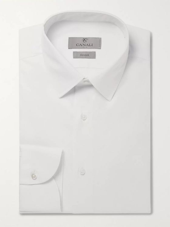 Canali Black Slim-Fit Stretch Cotton-Blend Poplin Shirt