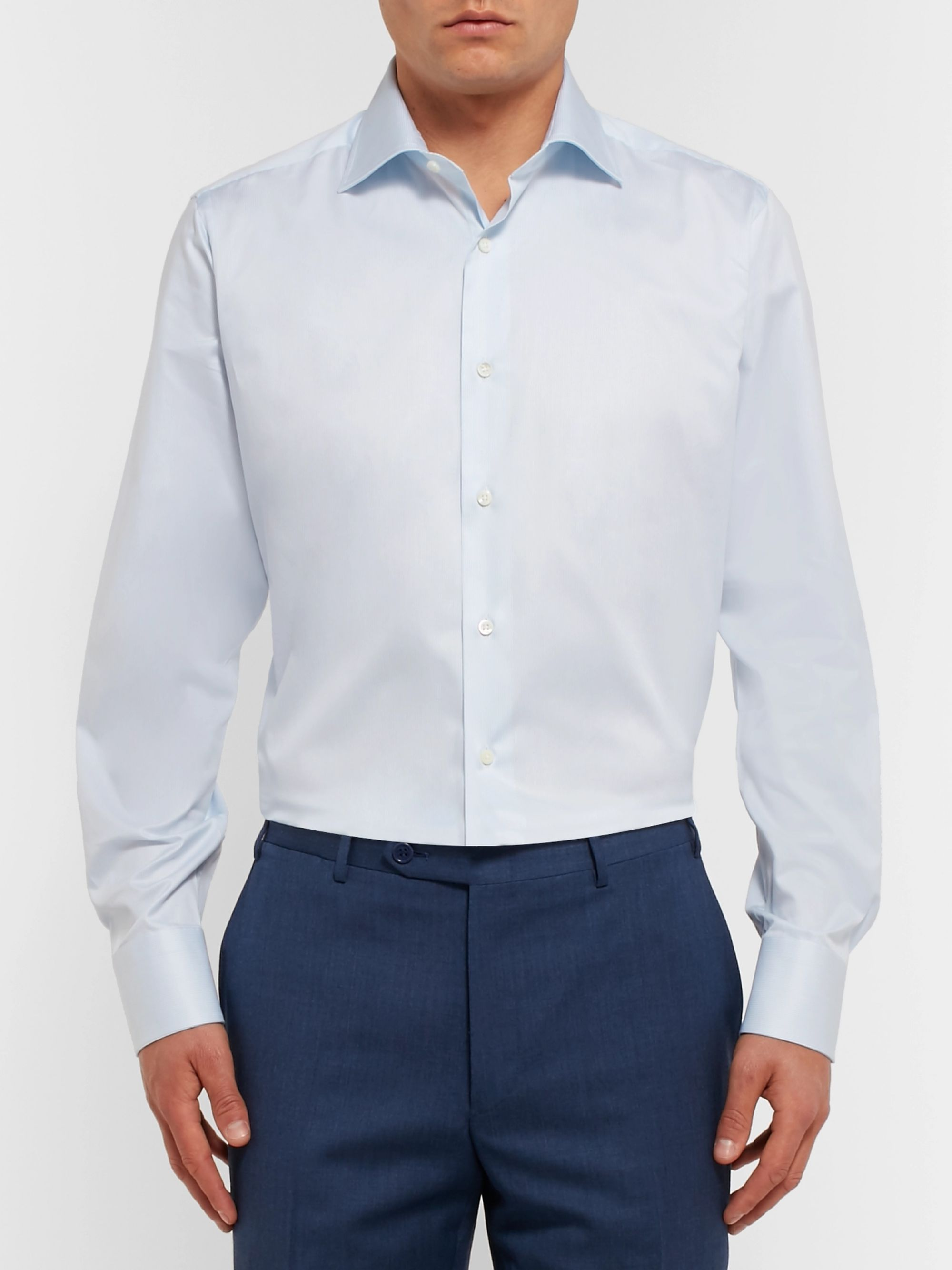 Canali Pink Cutaway-Collar Striped Cotton-Poplin Shirt