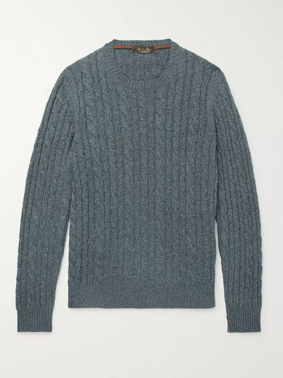 LORO PIANA Slim-Fit Cable-Knit Mélange Baby Cashmere Sweater