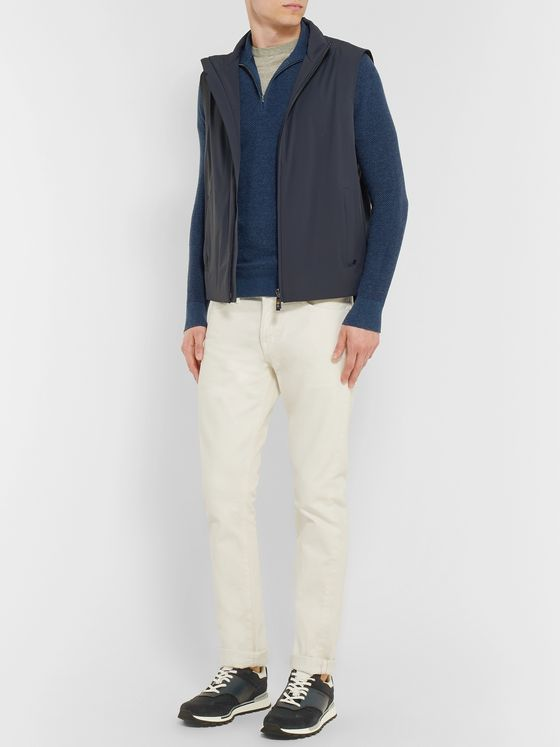 Loro Piana Roadster Slim-Fit Striped Cashmere Half-Zip Sweater