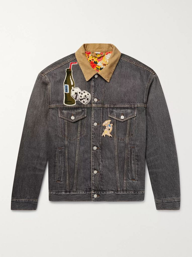 Gucci Corduroy-Trimmed Appliquéd and Printed Denim Jacket