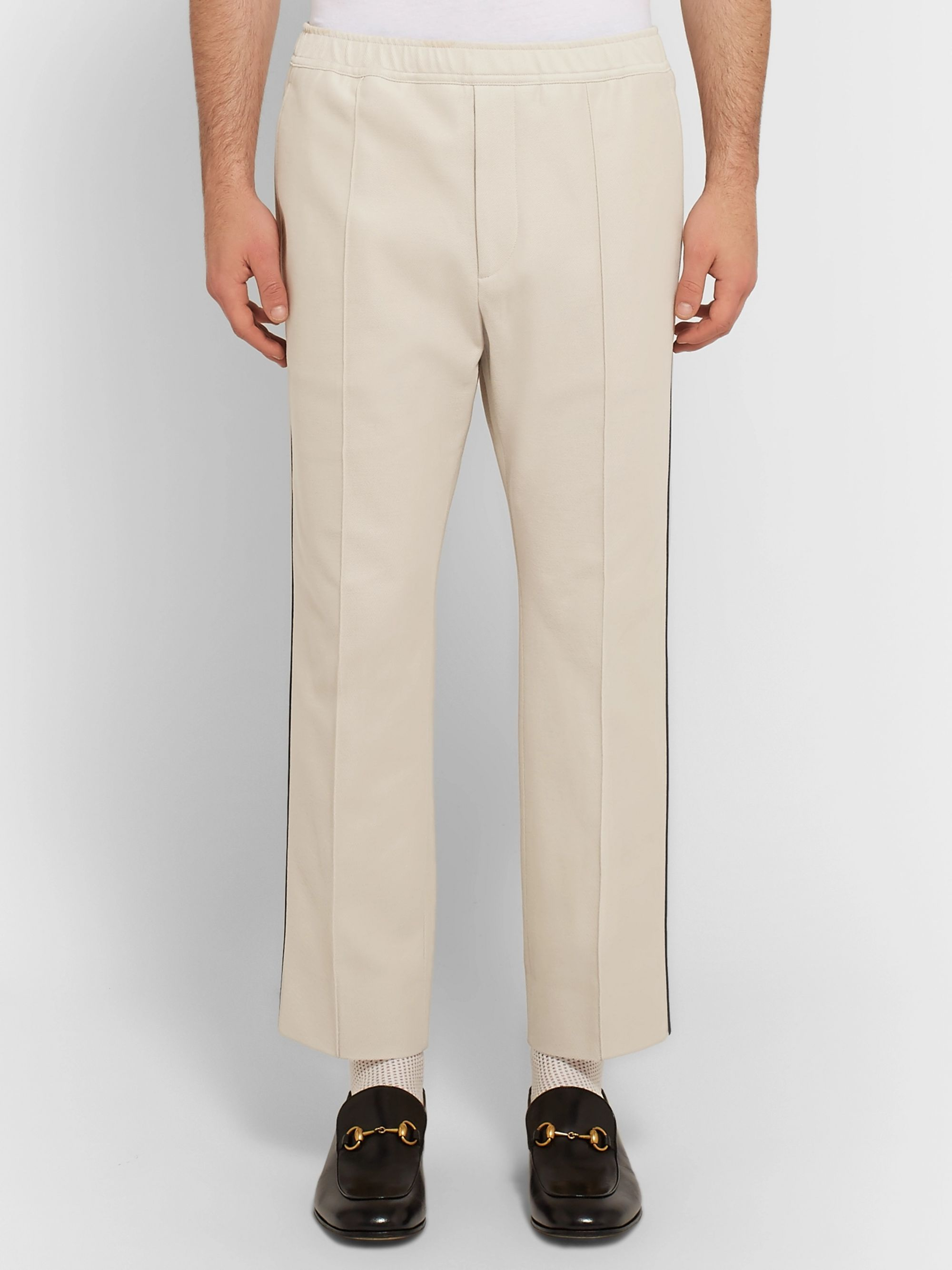 Gucci Slim-Fit Cropped Piped Cotton-Piqué Drawstring Trousers