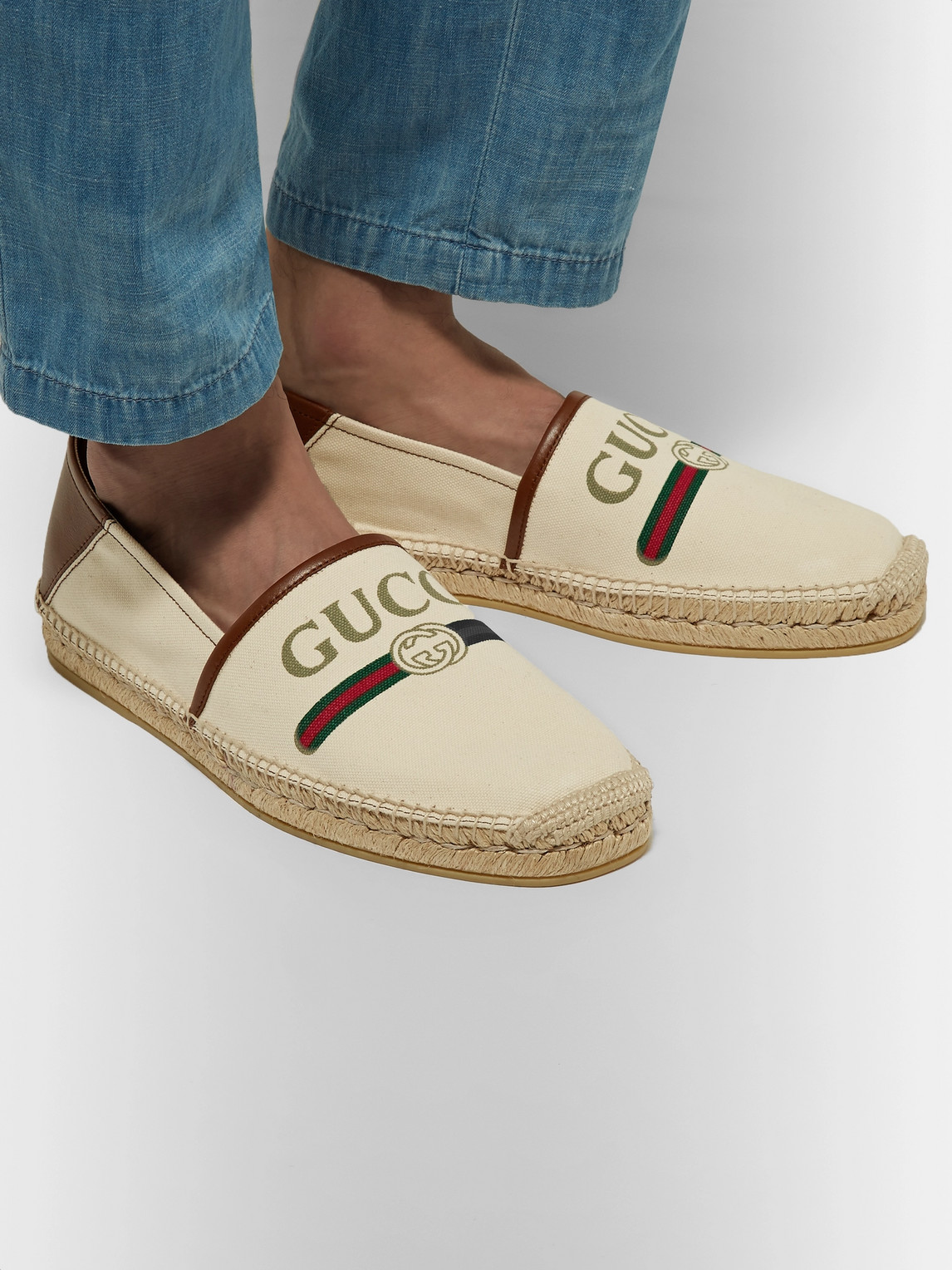 Gucci Shoes ALEJANDRO COLLAPSIBLE-HEEL LOGO-PRINT CANVAS ESPADRILLES